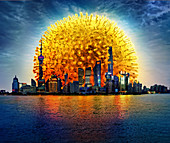 Coronavirus as sunset over a city, conceptual illustration