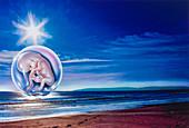 Human foetus over a sunlit seascape, conceptual illustration