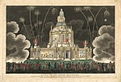 Fireworks at Temple of Concord in London, 1814
