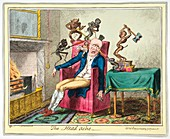 Headache, 19th-century caricature