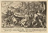 Scene before the biblical deluge, 17th-century illustration
