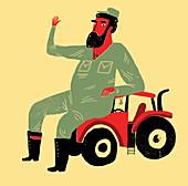 Oversized farmer, illustration