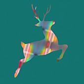 Leaping reindeer, illustration