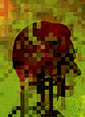 Pixelated man's profile, illustration