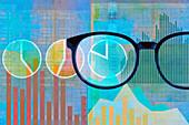 Examining financial data, illustration