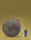 Business destroying planet, illustration
