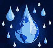 Global water, conceptual illustration