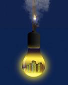 Light pollution, conceptual illustration