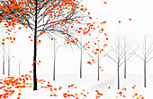 Autumn leaves falling from tree, illustration