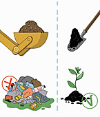Using land for landfill versus growing plants, illustration