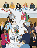 Lively meeting, illustration