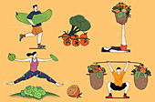 Exercise and healthy eating, illustration