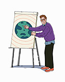 Man pointing to planet earth on flipchart, illustration