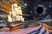 Galleon and black hole, conceptual illustration