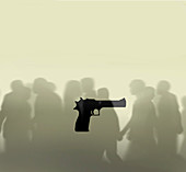 Gun crime, conceptual illustration