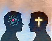 Science versus religion, conceptual illustration