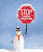 Snowman protesting global warming, conceptual illustration