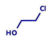 Ethylene chlorohydrin molecule, illustration