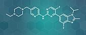 Abemaciclib cancer drug molecule, illustration