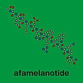 Afamelanotide or photoprotective drug molecule, illustration