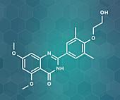 Apabetalone atherosclerosis drug molecule, illustration