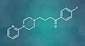 Azaperone antipsychotic drug molecule, illustration