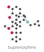 Buprenorphine opioid pain killer drug molecule, illustration