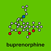 Buprenorphine opioid pain killer drug molecule, illustration