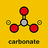 Carbonate anion chemical structure, illustration