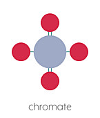 Chromate anion chemical structure, illustration