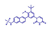 Dasabuvir hepatitis C virus drug molecule, illustration