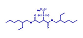 Docusate sodium drug molecule, illustration