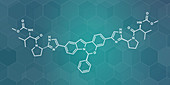 Elbasvir hepatitis C virus drug molecule, illustration