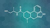 Ergometrine drug molecule, illustration