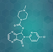Eszopiclone hypnotic drug molecule, illustration