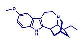 Ibogaine alkaloid molecule, illustration