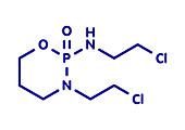 Ifosfamide cancer drug molecule, illustration