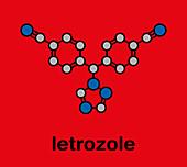 Letrozole breast cancer drug molecule, illustration