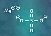 Magnesium sulfate, chemical structure, illustration
