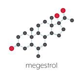 Megestrol appetite stimulant drug molecule, illustration