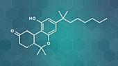 Nabilone antiemetic drug molecule, illustration