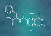 Ochratoxin A mycotoxin molecule, illustration