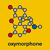 Oxymorphone opioid analgesic drug molecule, illustration