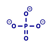 Phosphate anion chemical structure, illustration