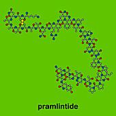 Pramlintide diabetes drug molecule, illustration