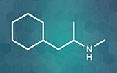 Propylhexedrine molecule, illustration