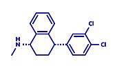Sertraline antidepressant drug molecule, illustration