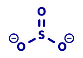Sulfite anion chemical structure, illustration