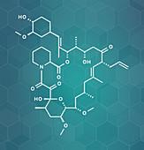 Tacrolimus immunosuppressant drug molecule, illustration