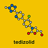 Tedizolid antibacterial drug molecule, illustration